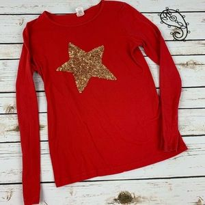 Crewcuts Girls Shirt Red Size 14 Sequin Star